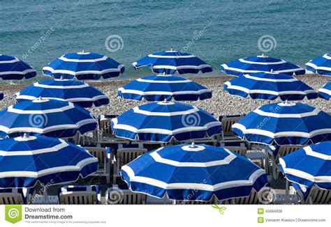 City Of Nice Beach With Umbrellas Stock Photo Image