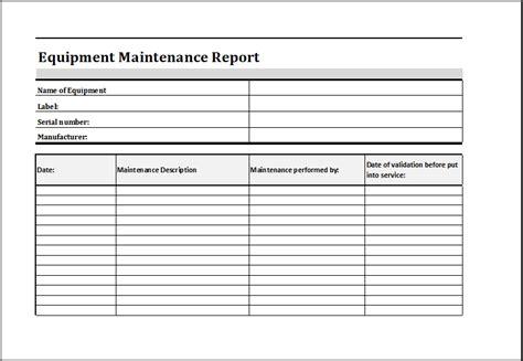 equipment maintenance schedule template excel task list