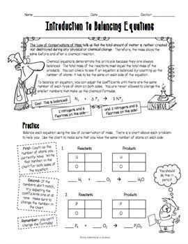 introduction  balancing chemical equations worksheet