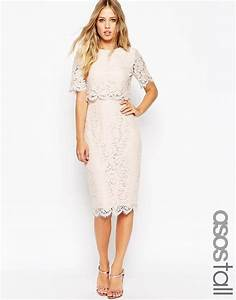 image 1 of asos tall lace crop top midi pencil dress With pencil dress for wedding