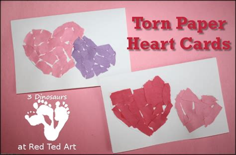 s cards for tots paper hearts ted s 662 | redted tornpaperheartcard