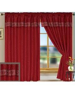 curtain panel with attached valance burgundy