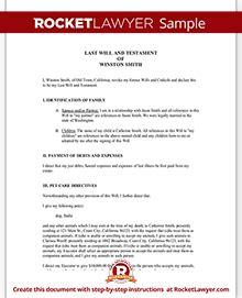 testament form    template