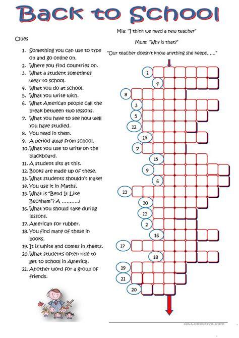 worksheets for middle school crossword worksheets