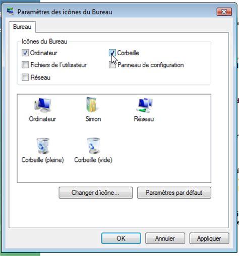comment mettre un icone sur le bureau comment remettre la corbeille sur le bureau windows 7