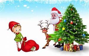 Christmas Postcard Santa Claus Deer Christmas Tree With ...