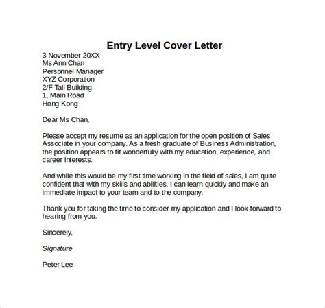 entry level cover letter templates 9 free sles