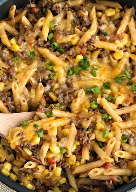 30 minutes one pan bbq beef pasta skillet together as