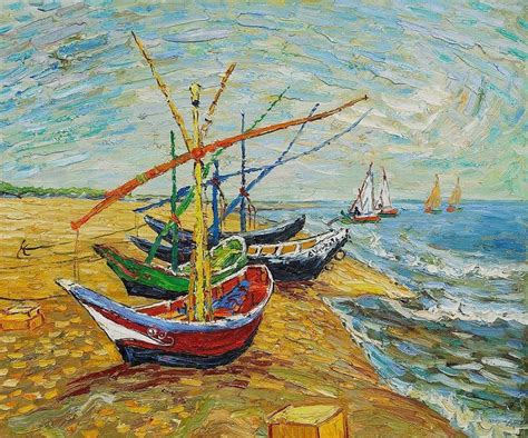 Boat On Beach Drawing by Fishing Boat On The Beach Van Gogh Fishing Boats On