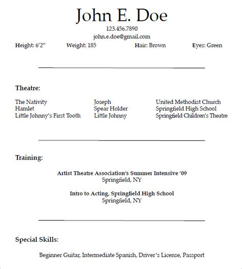 create  good acting resume template