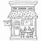 Clipart Drawing Cafe Cafeteria Embroidery Corner Hand Patterns Boutique Building Cream Ice Digi Getdrawings Watermark Without Buildings Coffee Drawn Coloring sketch template