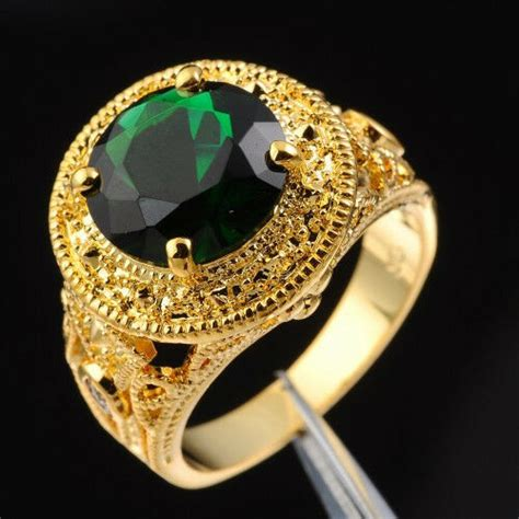 size   nice mens jewelry solitaire green emerald