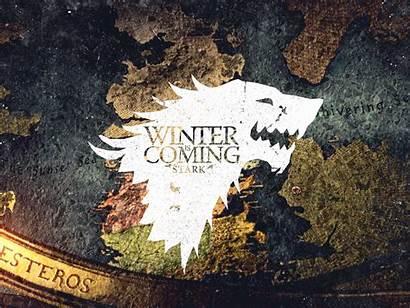 Thrones Stark Winter Coming Direwolf Crest Map