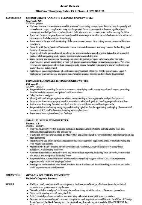 business underwriter resume samples velvet jobs