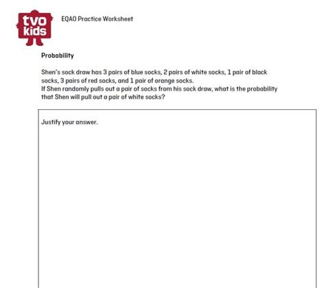 eqao practice worksheet grade 6 math probability