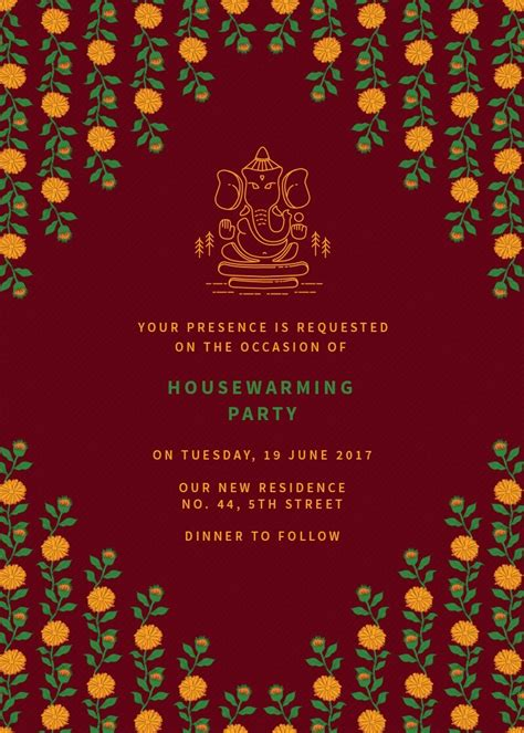 marigold housewarming party invitation invites