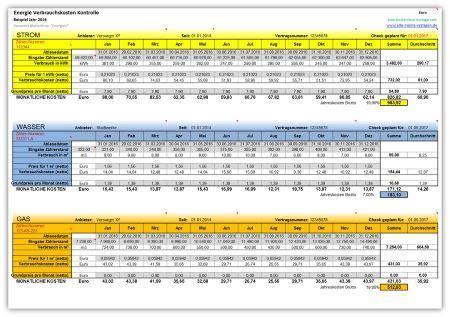 energie verbrauchskosten kontrolle excel vorlagen und