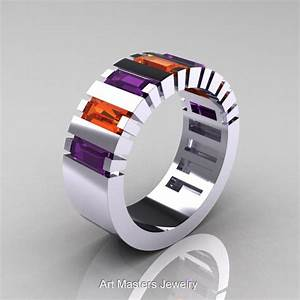 modern 14k white gold baguette amethyst orange sapphire With mens amethyst wedding ring