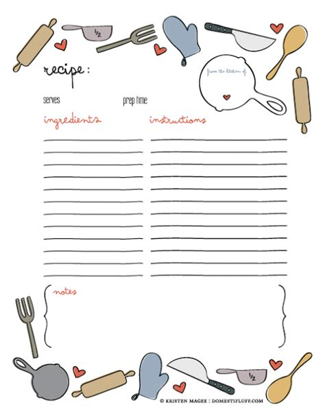 editable recipe card template of giving free printable recipe page template