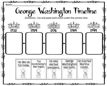 george washington timeline cut and paste freebie you