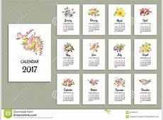 Illustration De Vecteur Du Calendrier Floral 2017