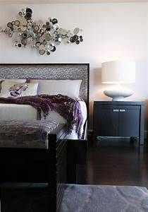 Modern, Bedroom, In, Eggplant, Taupe, And, Silver, Tones
