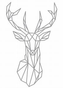 Geometric Deer Head Wall Sticker Geometry Animal Series