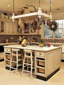 Kitchen Island with Hanging Pot Rack