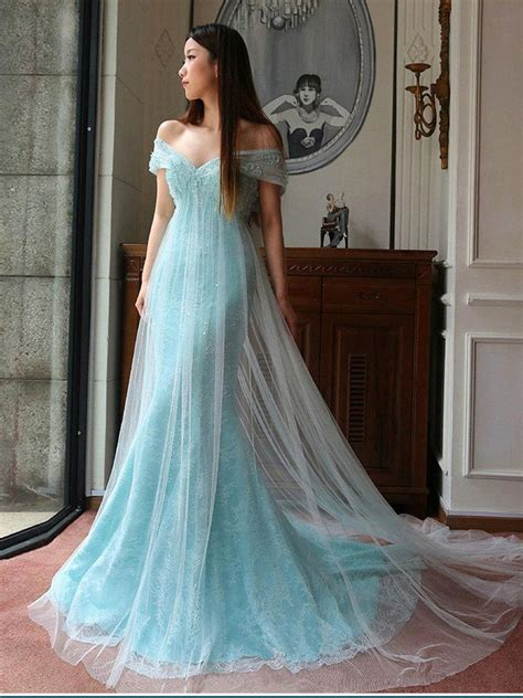 trumpetmermaid   shoulder blue tulle lace sequins
