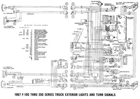 Ford F 350 Wiring Diagram For 1973 by Ford F 100 Through F 350 Truck 1967 Exterior Lights And