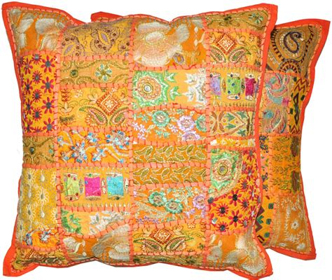 Pillow Slipcovers by 2pc Orange Decorative Throw Pillow Cover Large Cushion