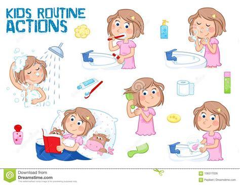 petite fille  sa routine quotidienne fond blanc