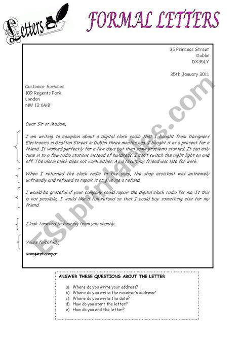 formal letter esl worksheet  mariaah