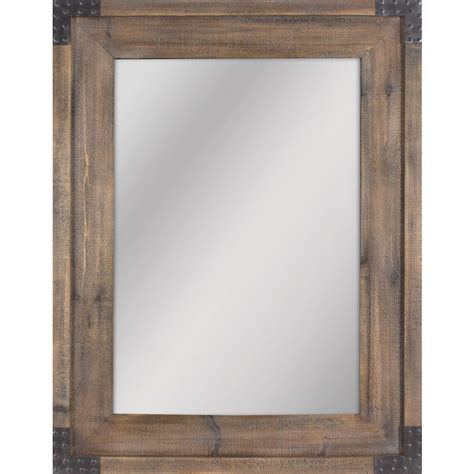 shop allen roth reclaimed wood beveled wall mirror
