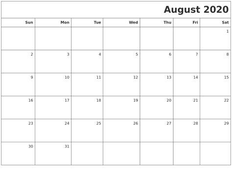 august printable blank calendar