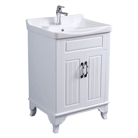 large cabinet vanity sink white  standing  ample
