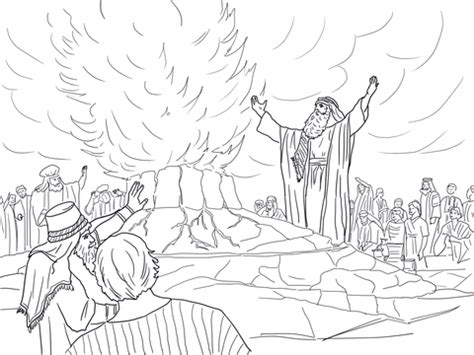elijah called  fire  heaven coloring page