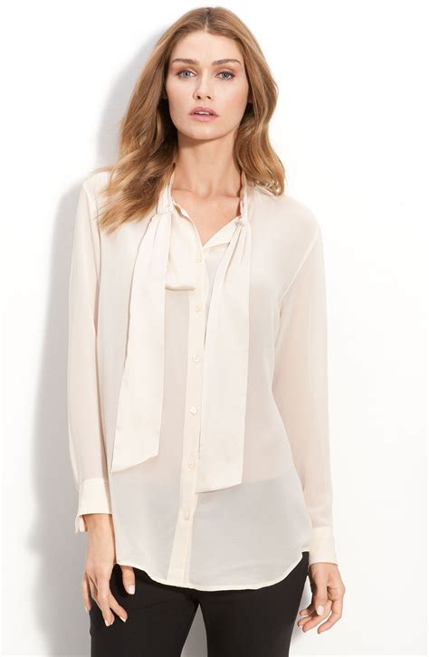 blouse with bow collar equipment meredyth bow collar blouse in lyst