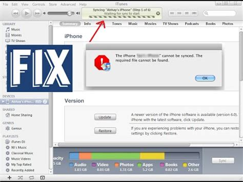 iphone cannot be synced because it cannot be found fix itunes 69 sync errors doovi