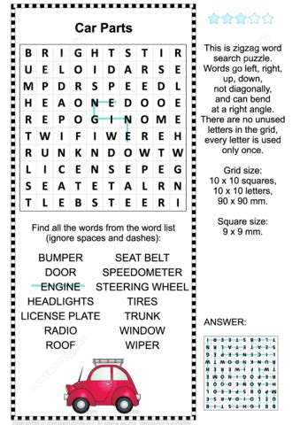 car parts word search puzzle  printable puzzle games