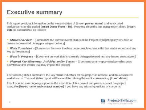 project executive summary template 7 executive summary report exle template progress report