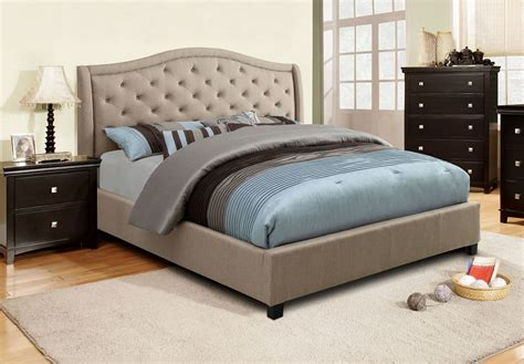 Upholstered Bed Frame by Taupe Fabric Tufted Upholstered Bed Frame Caravana Furniture