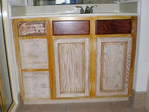 Refinishing Oak Bathroom Cabinets With White And Dark