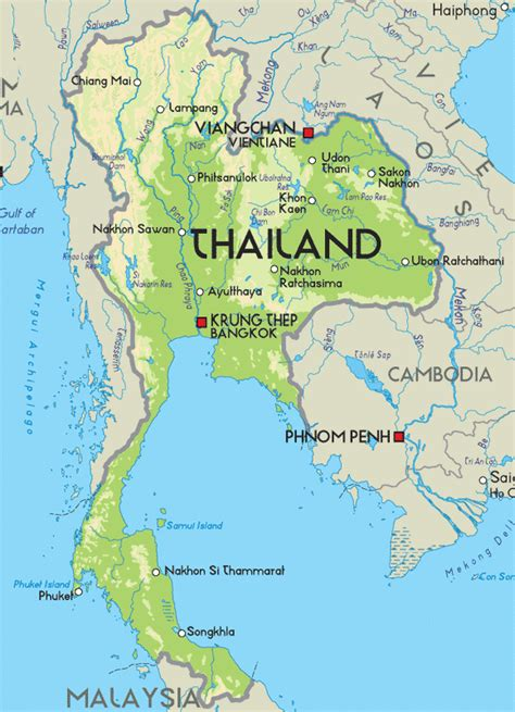visit thailandinfo physical map  thailand map