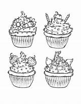 Coloring Muffins Sweet Treats раскраски Kinds Different из все категории Sweets Kandy Template источник sketch template