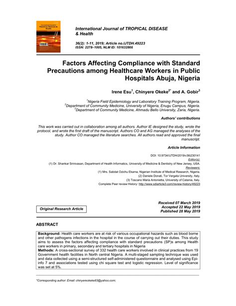 (PDF) Factors Affecting Compliance with Standard