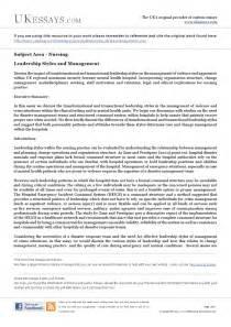 nursing essays leadership styles  management
