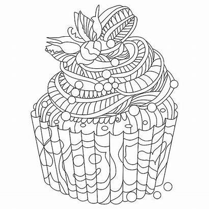 Doodle Cupcake Coloring Cakes Pages Cupcakes Adults