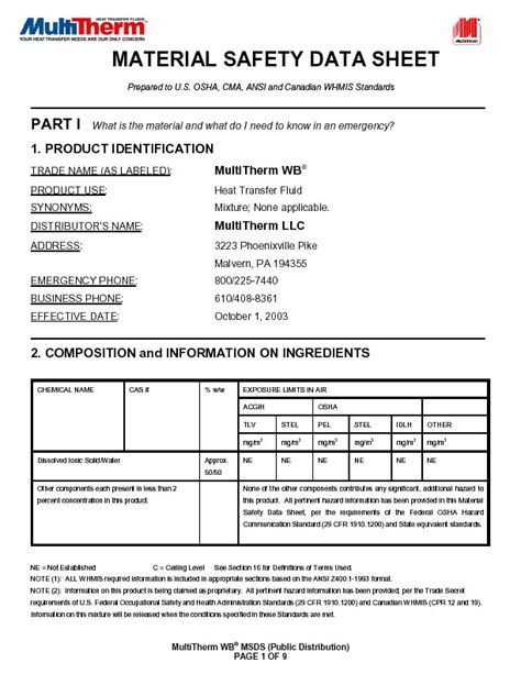 l msds material safety data sheets