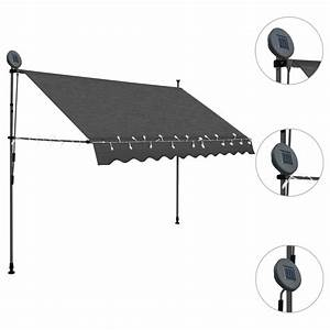 Manual Patio Awning Retractable Awning With Led Outdoor